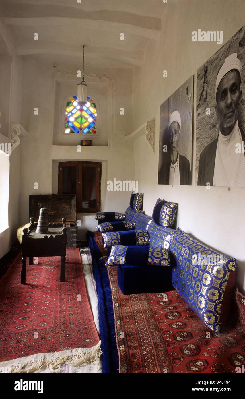 Sitting Room Salon Or Al Mafraj Of The Dar Hajar Rock Palace Residence Imam Yahya Wadi Dhar Dhahr Sanaa Yemen