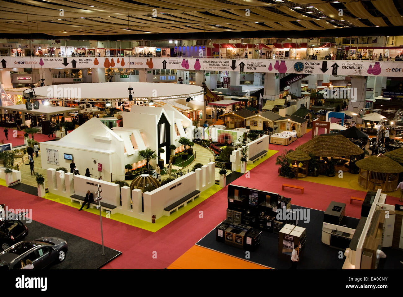 view over exhibitors stands at the ideal home show exhibition