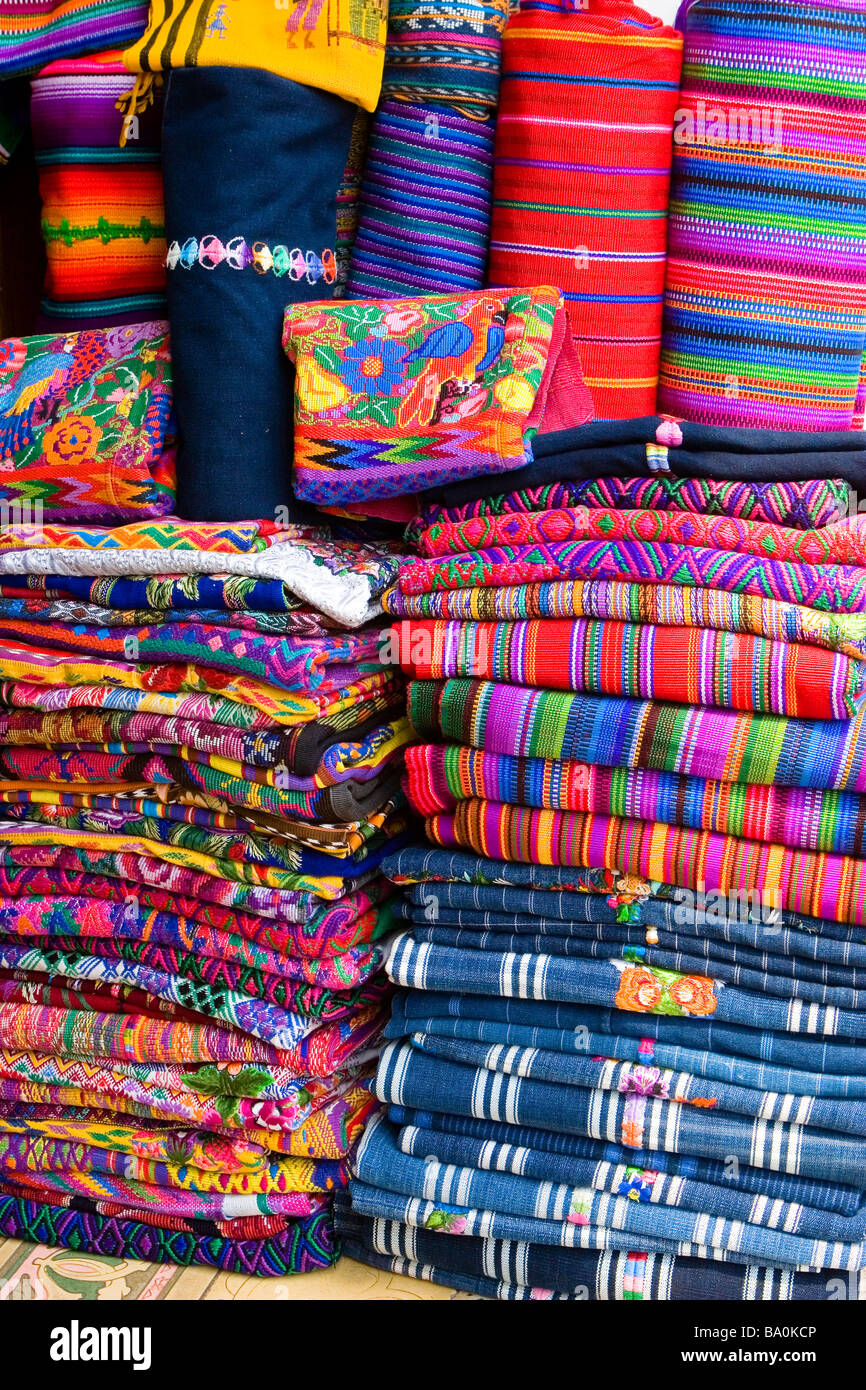colorful handmade mayan blankets for sale on the street in antigua  - colorful handmade mayan blankets for sale on the street in antigua guatemala