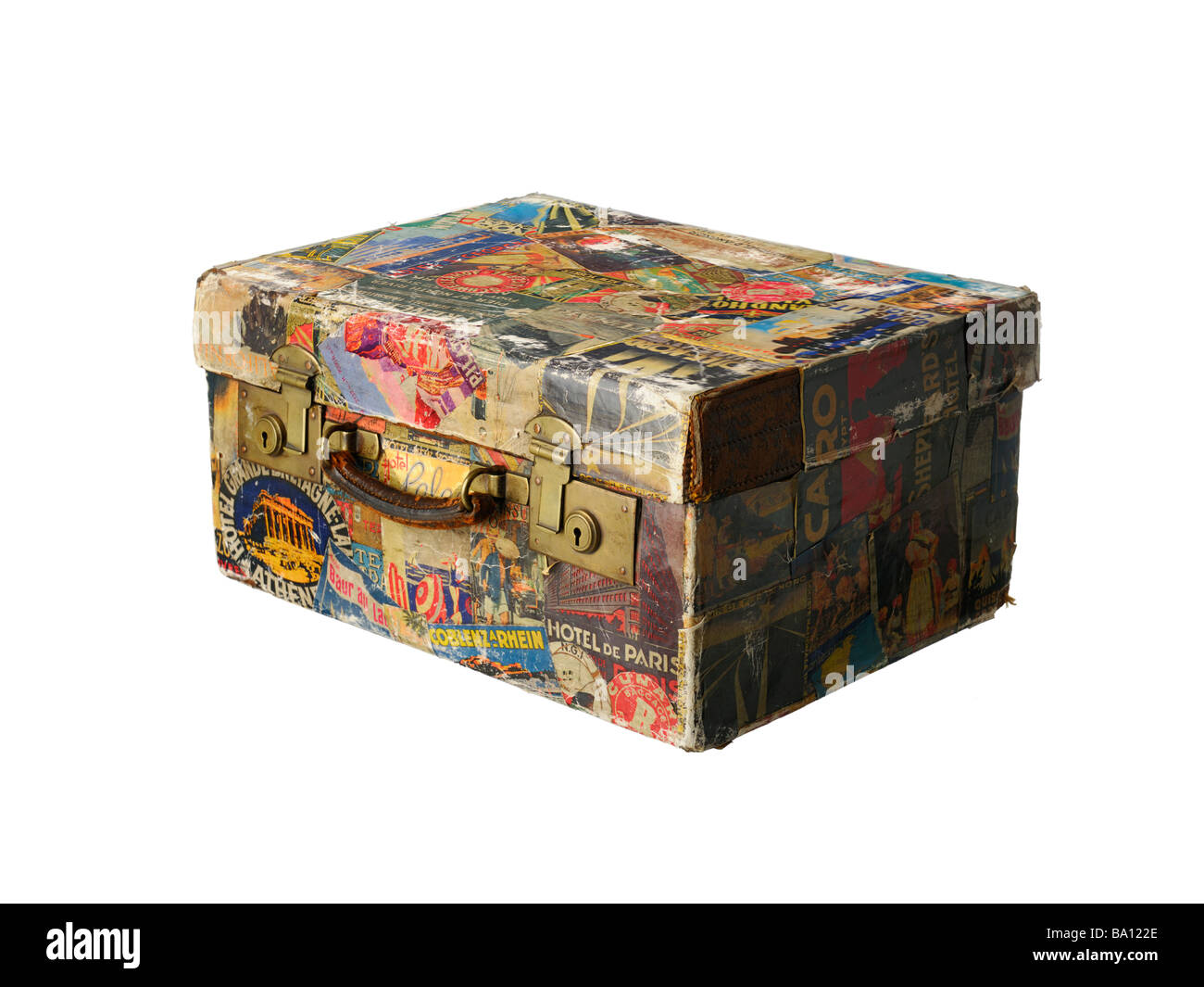 Vintage suitcase with retro travel stickers on a trolley Stock ...
