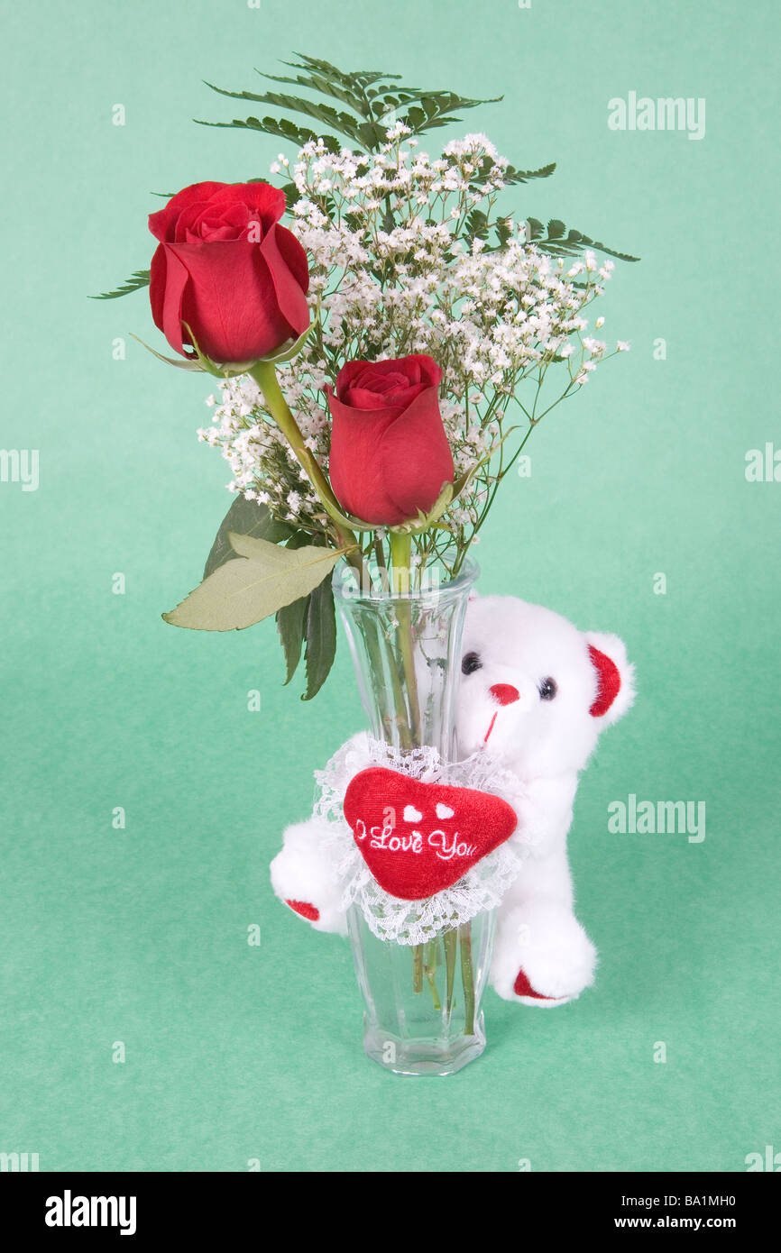 2 red roses in vase with a cute small white bear that says ...