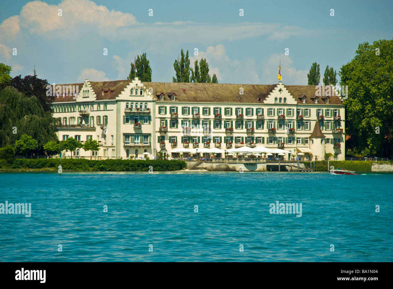 historic facade of hotel steigenberger inselhotel konstanz lake stock photo royalty free image. Black Bedroom Furniture Sets. Home Design Ideas