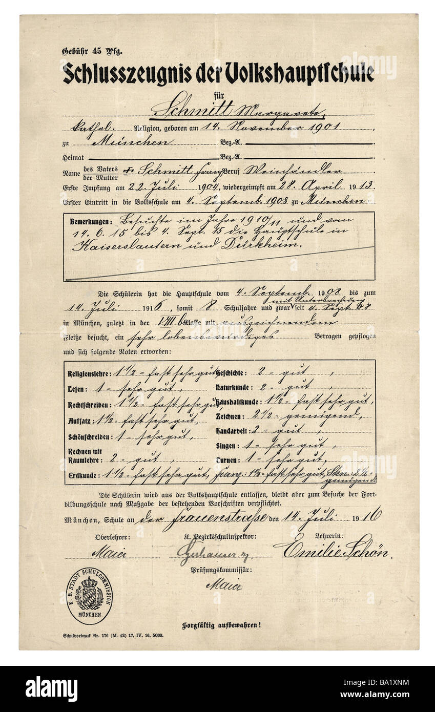 education school school report for margarete schmitt munich  stock photo education school school report for margarete schmitt munich secondary general school diploma 14 7 1916 historic