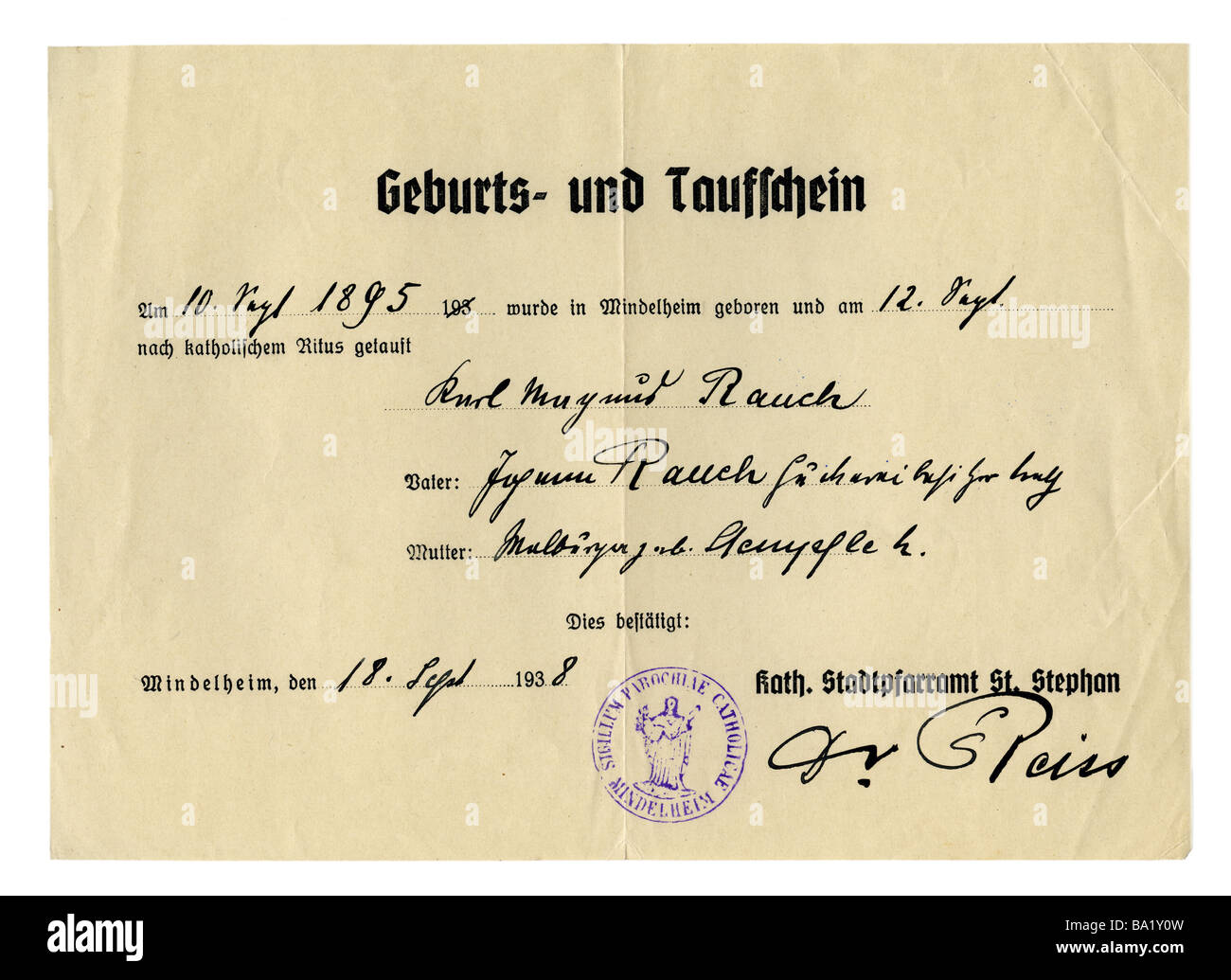 Birth certificates stock photos birth certificates stock images documents birth and baptismal certificate for karl magnus rauch issued on 1891938 1betcityfo Choice Image