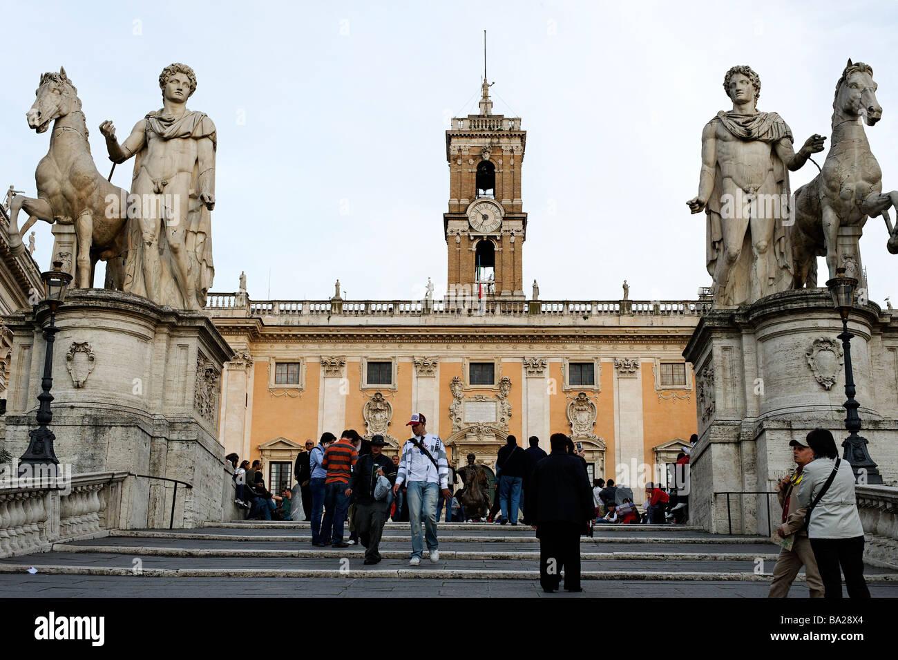 Stock Photo   The Cordonata Staircase Leading To Piazza Del Campidoglio And  Palazzo Senatorio On The Capitoline Hill