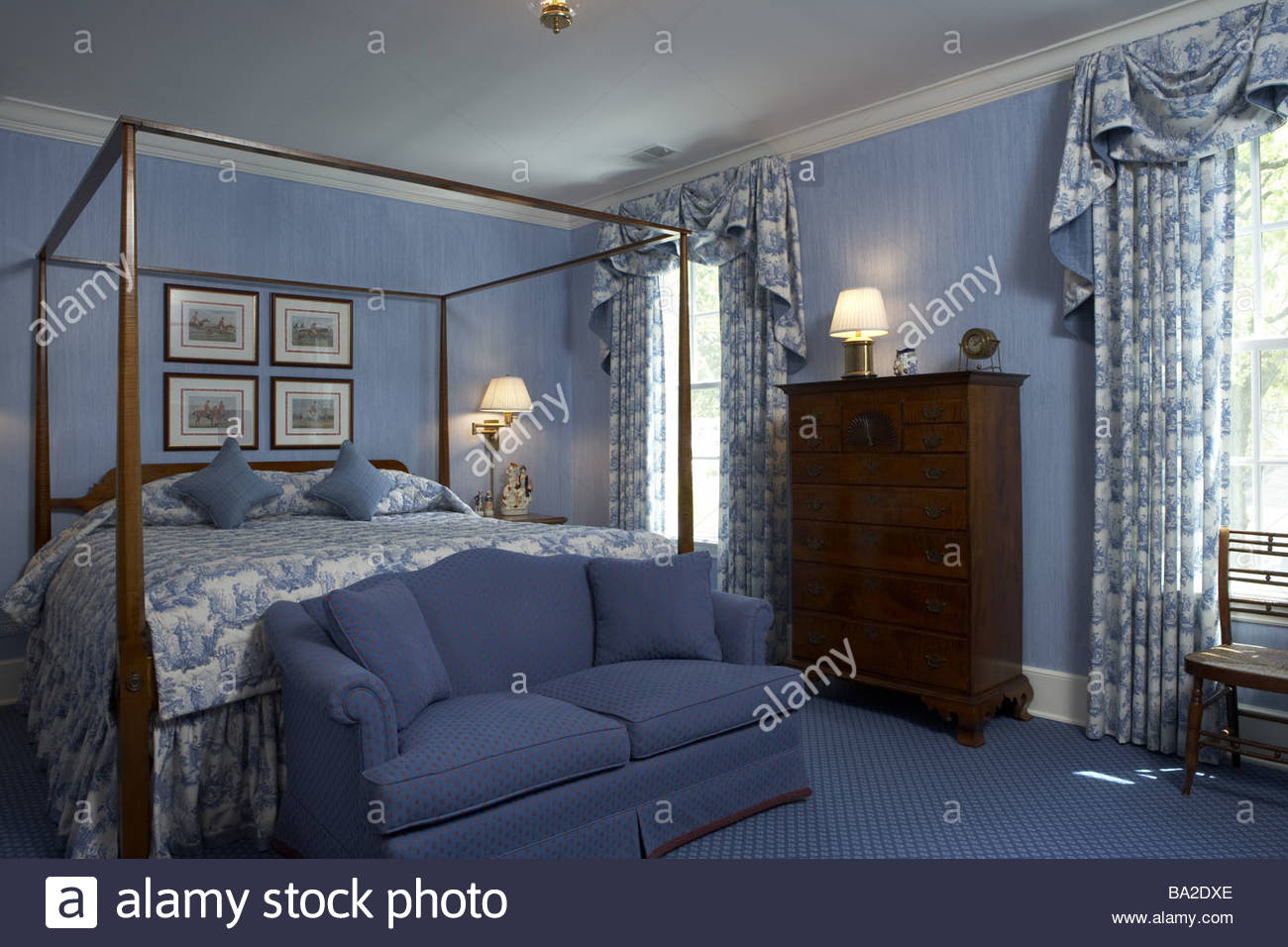 Light blue bedroom curtains - Bedrooms Four Poster Equipment Light Blue Dormitory Double Bed Bed Sofa Curtains Dresser Carpet