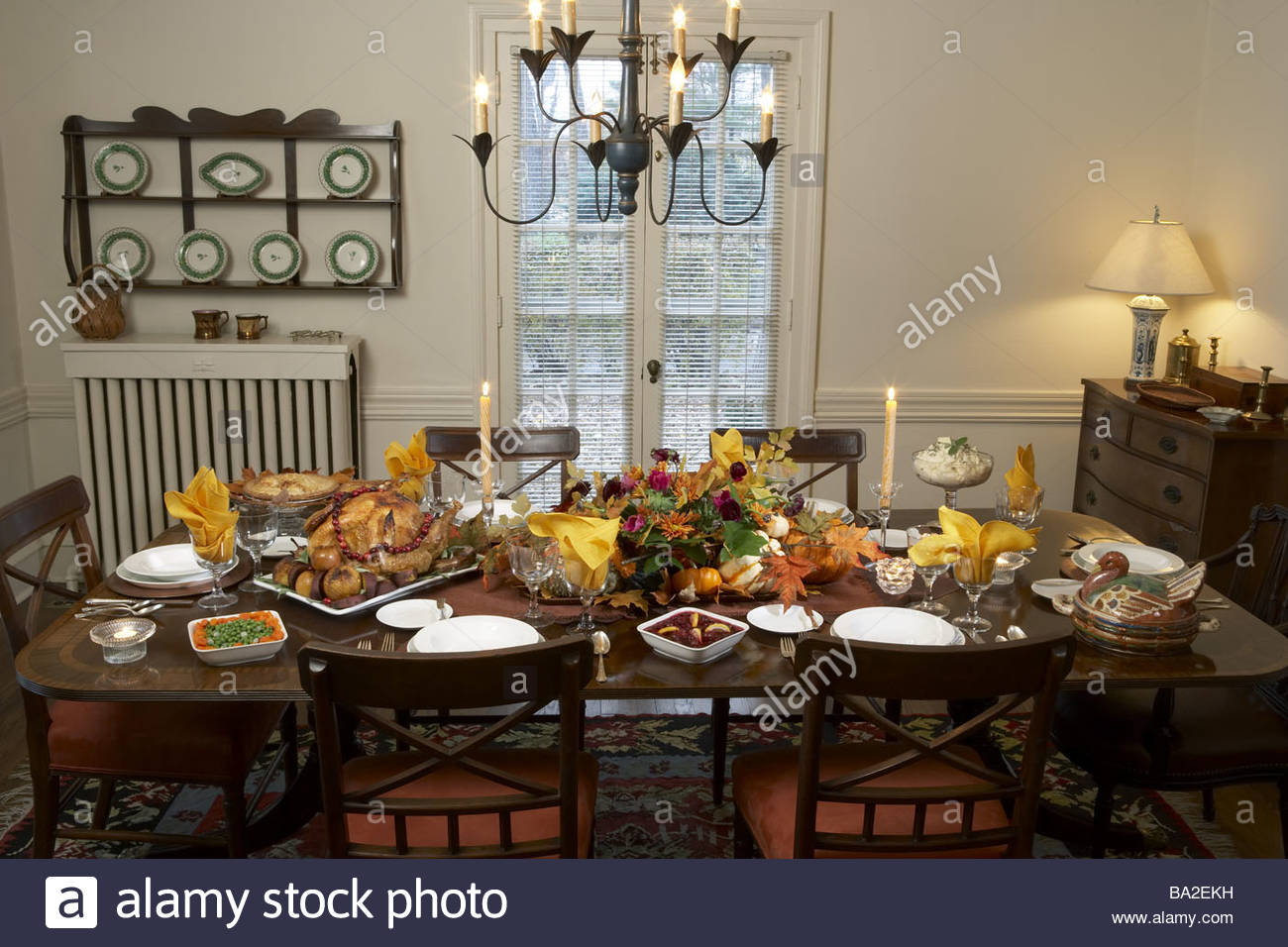 Thanksgiving dining table covered festively plate turkey  : thanksgiving dining table covered festively plate turkey supplements BA2EKH from www.alamy.com size 1300 x 956 jpeg 180kB