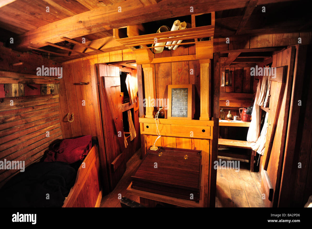 USA Maryland Historic St Marys City MD First Capitol Colonial Village Inside And Below Deck Of The Dove Wooden Ship