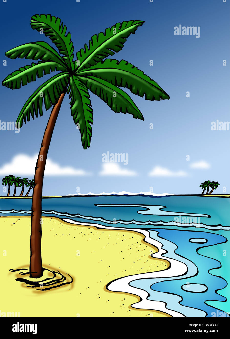 Illustration Palm Beach Islands Sea Graphics Drawing Watercolor Sandy Palms Neighbor Human Empty Untouched