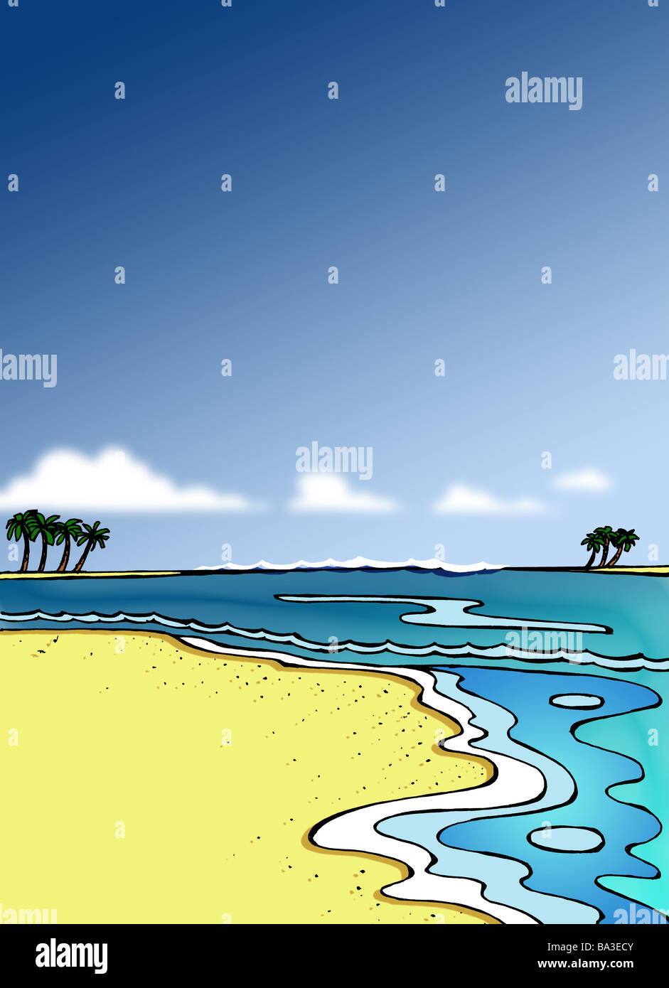 Illustration Beach Sea Islands Graphics Drawing Watercolor Sandy Palms Palm Neighbor Human Empty
