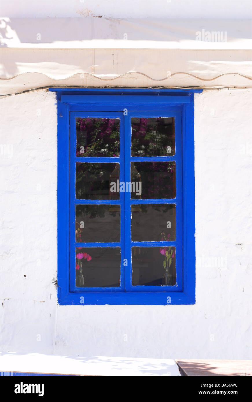 House window frame - A Blue Window Frame On A White Painted House On Hydra Greece