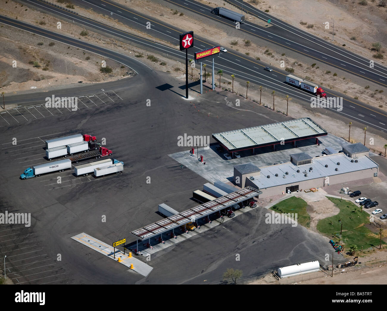 aerial view above texaco lorry truck stop gas filling station along interstate 10 arizona stock