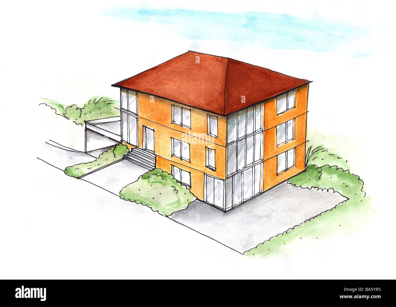 Illustration increase family house watercolor drawing sketch house villa design architecture symbol dream house wish house