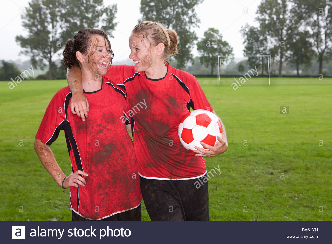Soccer girls muddy