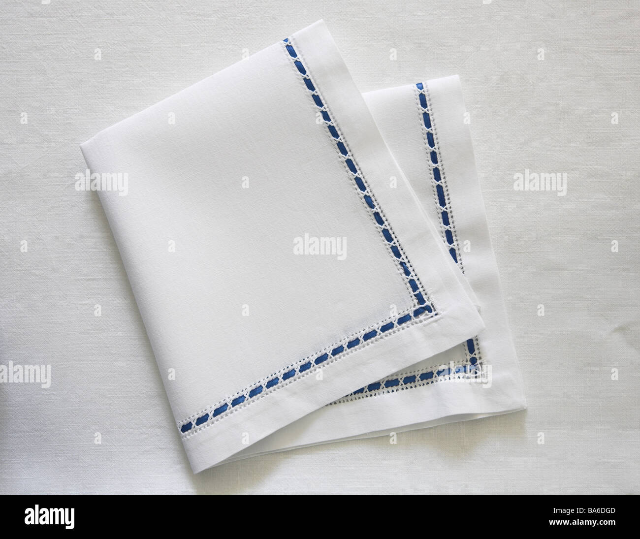 Stock Photo   Tablecloth Material Napkin Table Culture Put Together Linen  Napkin Linen Material Linen Material Knows Ornament Band Blue