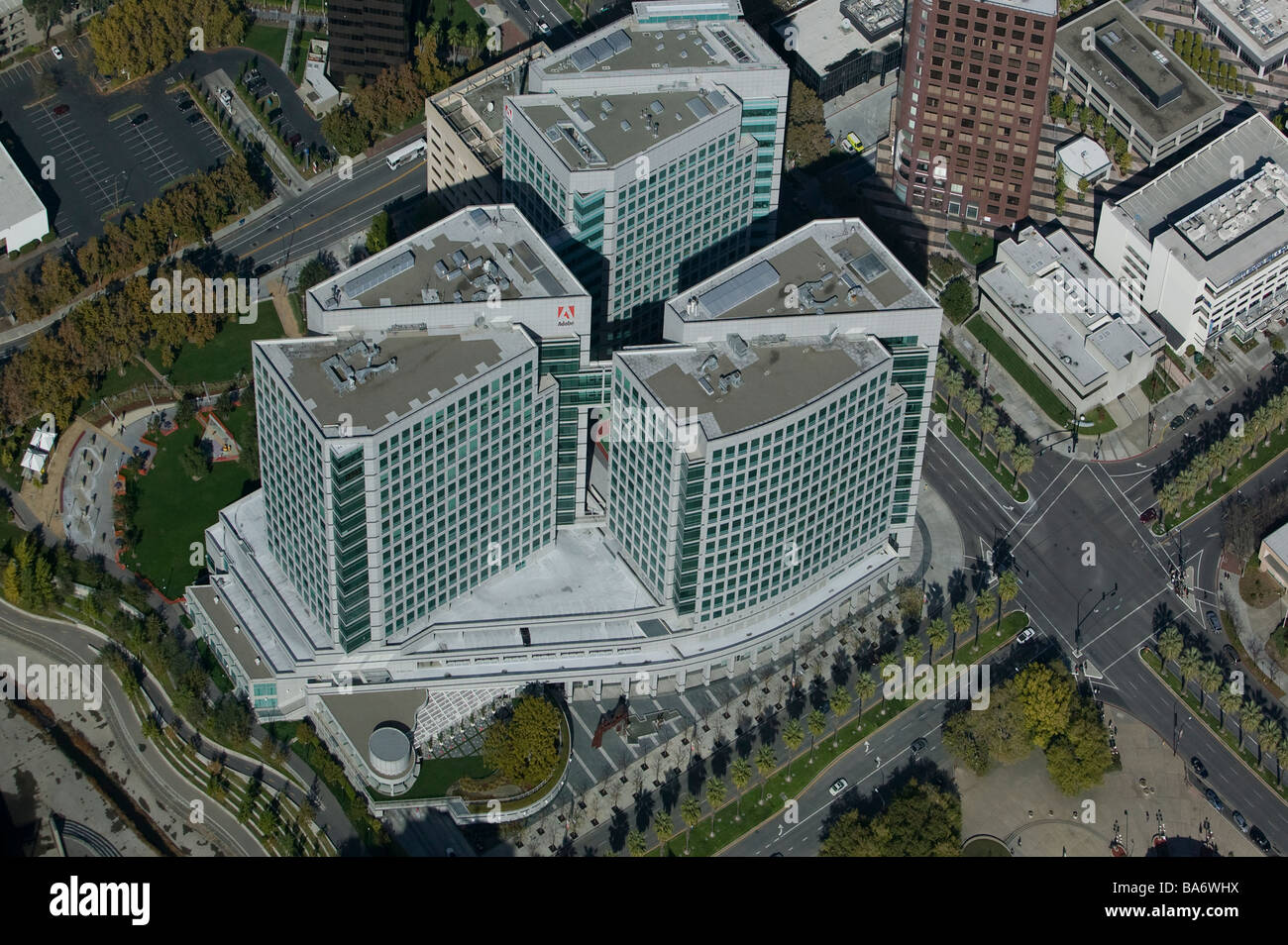 aerial view above adobe systems san jose california corporate headquarters silicon valley stock image adobe offices san jose san