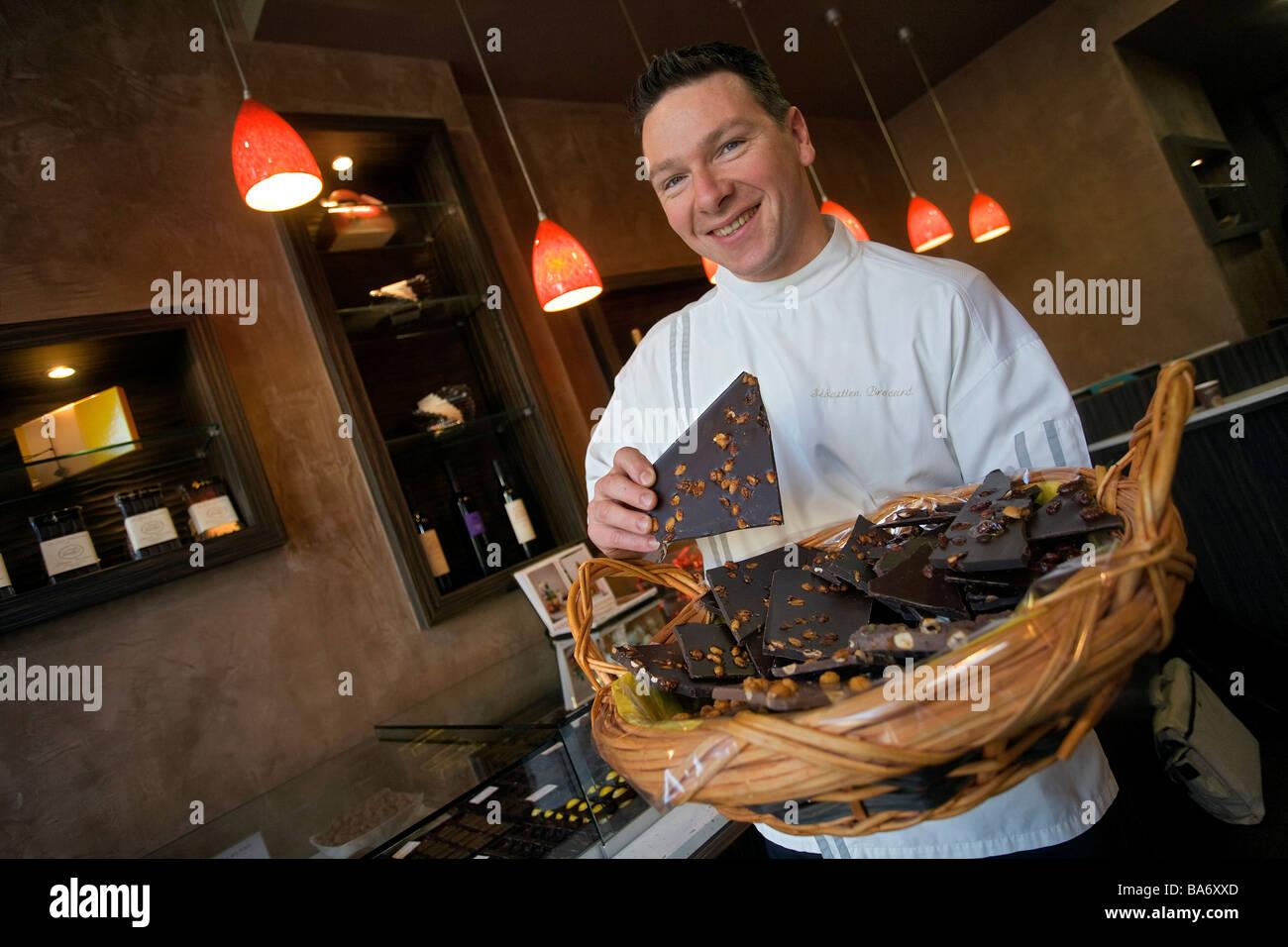 France, Ain, Pays de Gex, Divonne les Bains, chocolate maker Stock ...