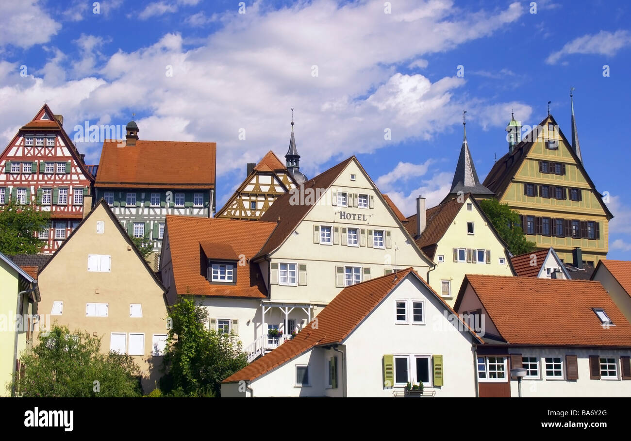 germany baden w rttemberg bietigheim bissingen houses facades town stock photo royalty free. Black Bedroom Furniture Sets. Home Design Ideas