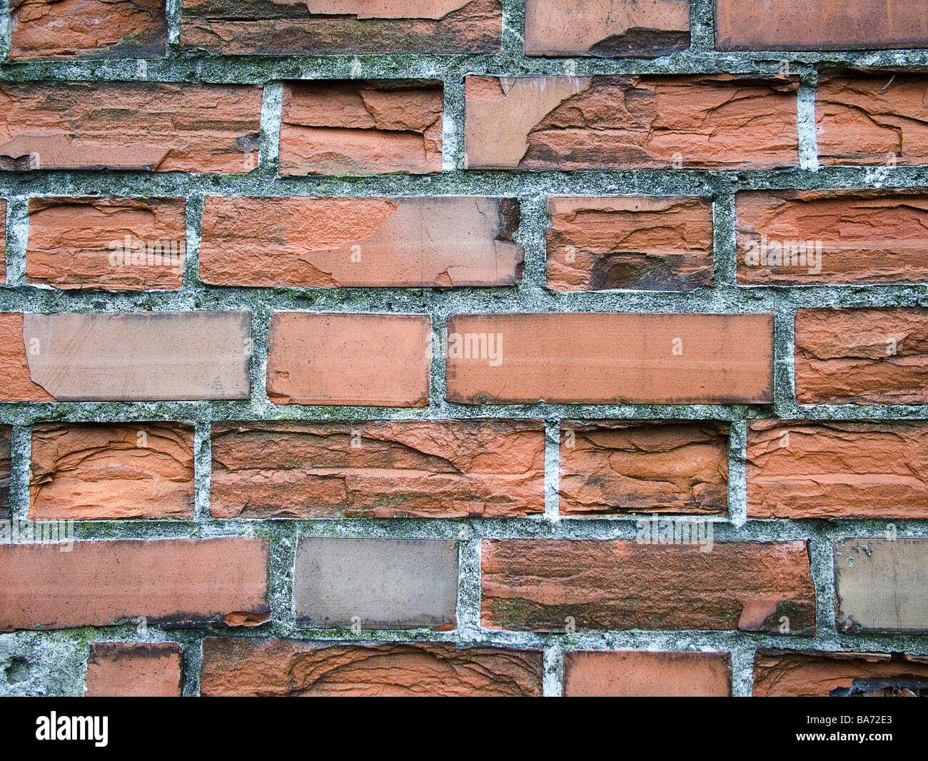 Brick Wall Detail Close Up Buildings House Bricks Red Masoned Clinker Damaged Old Flaked