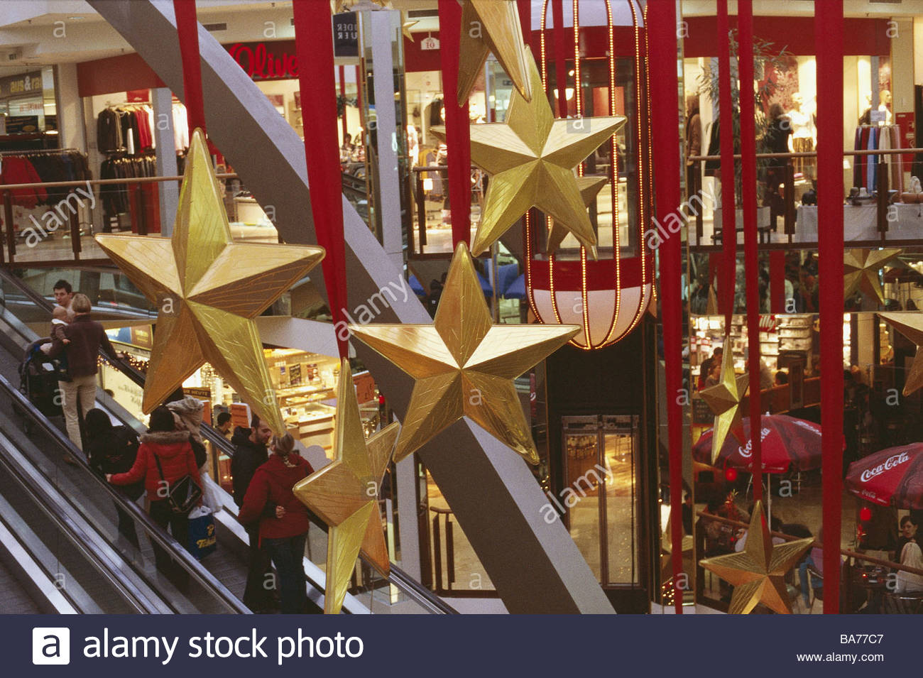 How to start a christmas decor business - Shopping Center Christmas Decoration Stars Golden Escalator Detail No Property Release Business Stores Sale Retails Christmas