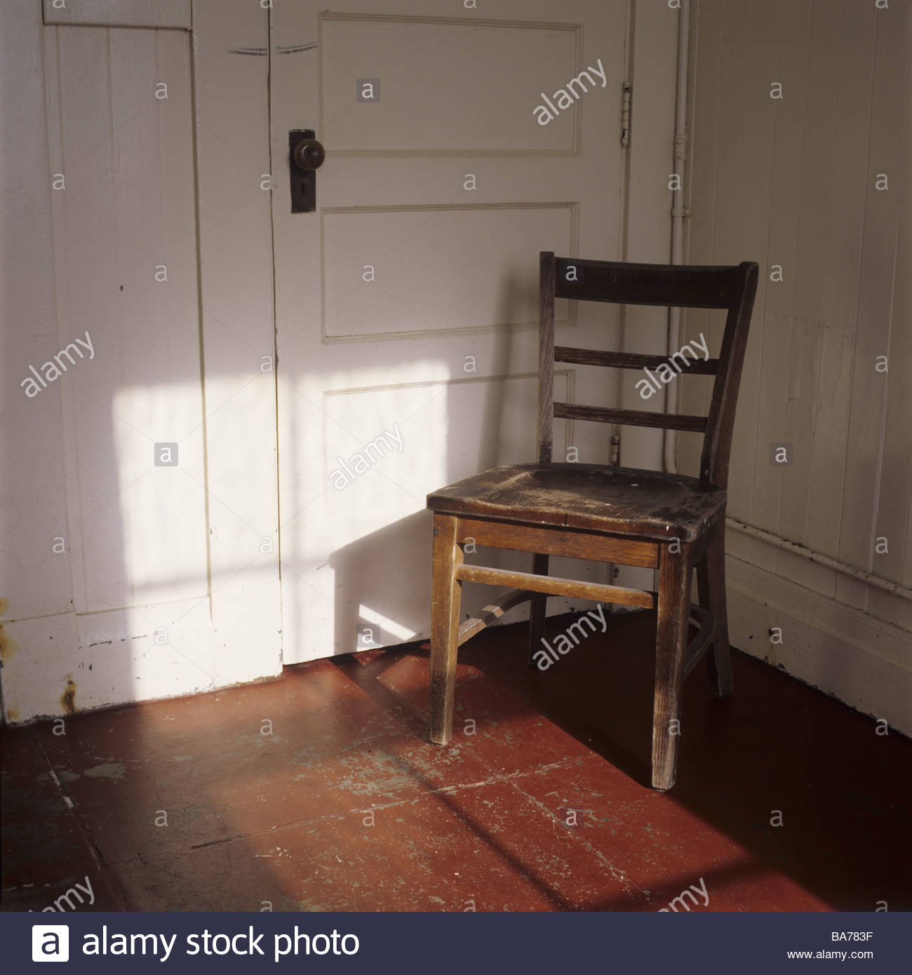 Wood-chair old door locked furniture piece of furniture Stock ...