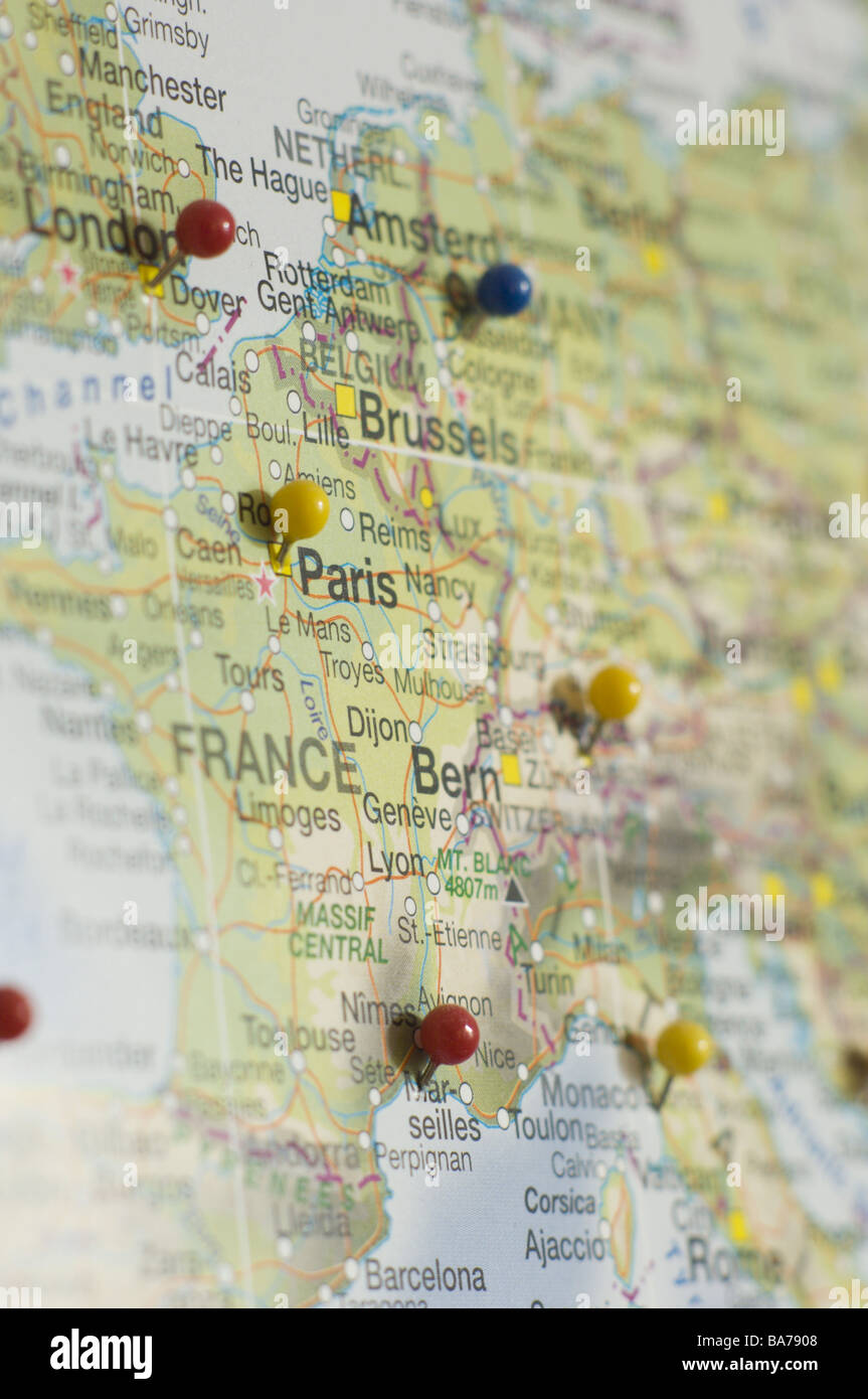 Map Europe cities pins card Central Europe France Switzerland