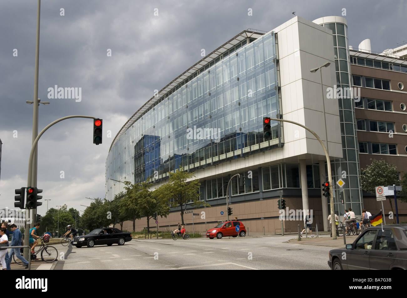 Germany Hamburg office buildings glassfacade streetscene detail