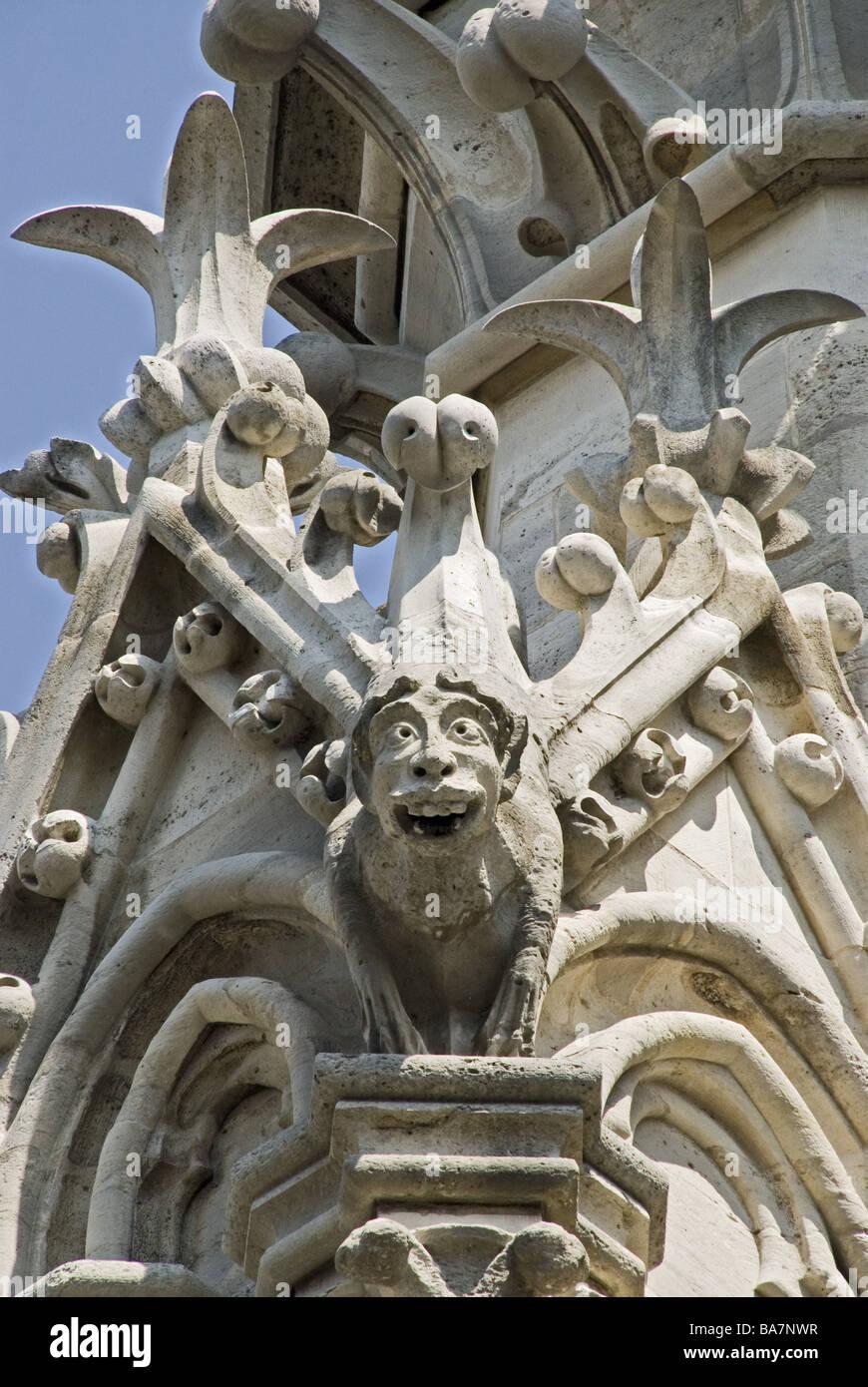 France Paris Notre Lady Gargoyles Detail Capital Cathedral Gothic Architecture Sculpture Sculptor Art Stone Figure