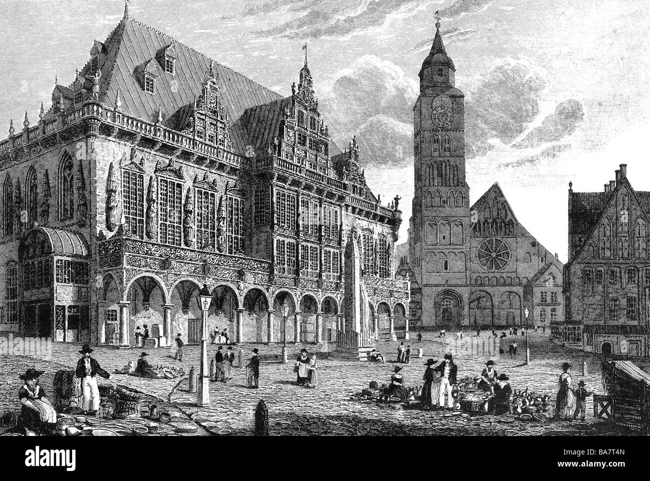 Deciding stock illustrations royalty free gograph - Geography Travel Germany Bremen Town Hall Exterior View Woodengravin By