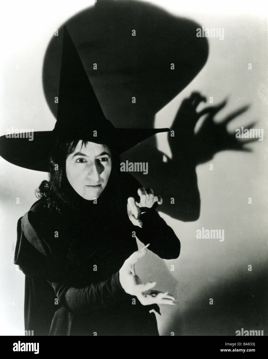 The wizard of oz 1939 mgm film with margaret hamilton as the wicked witch stock