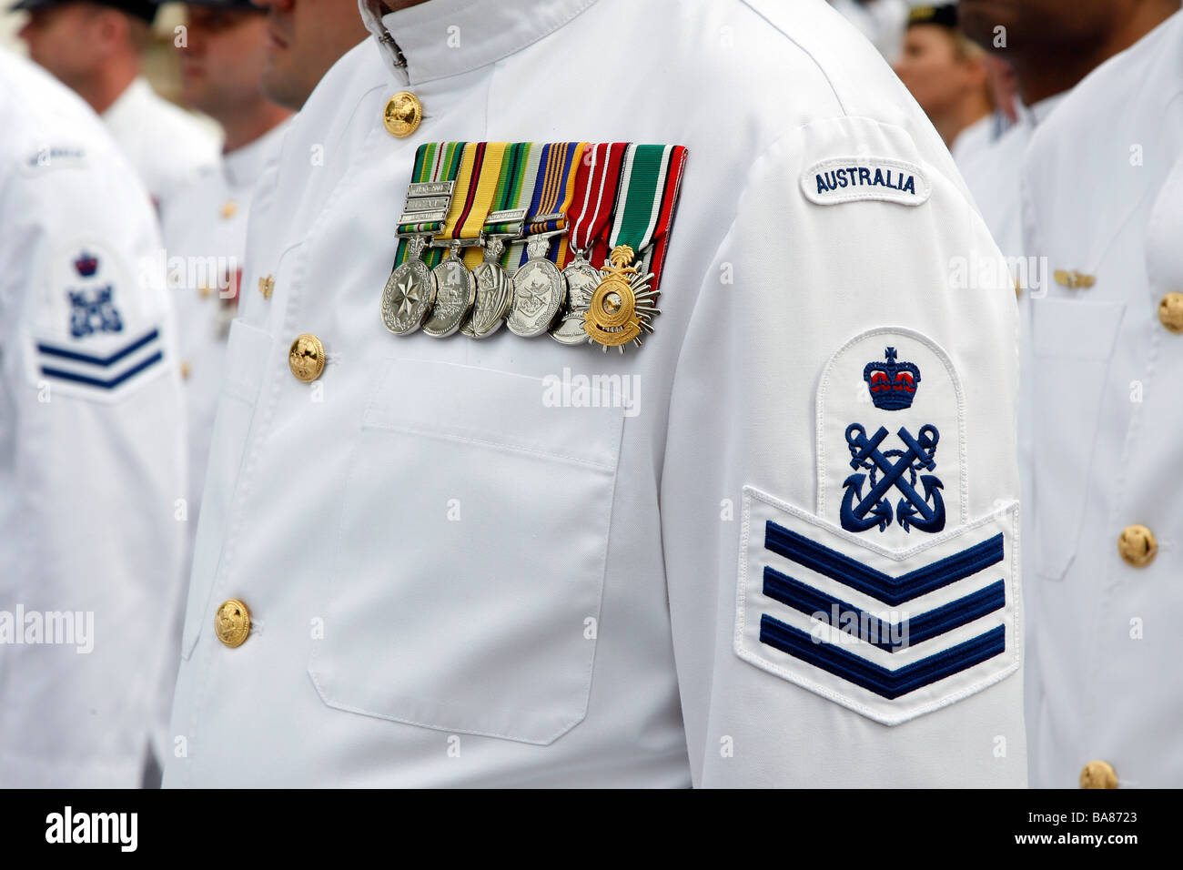 Medals on the chest of a member of the Australian Navy ...