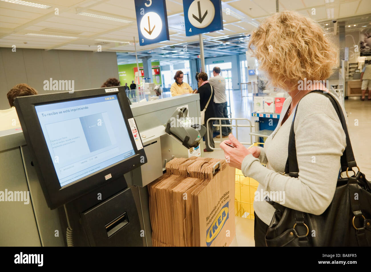 self service checkout point at ikea furniture and home furnishings stock photo royalty free. Black Bedroom Furniture Sets. Home Design Ideas