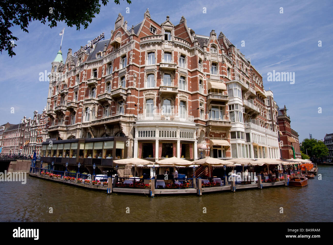 luxury hotel de l 39 europe on the amstel river in amsterdam stock photo royalty free image. Black Bedroom Furniture Sets. Home Design Ideas