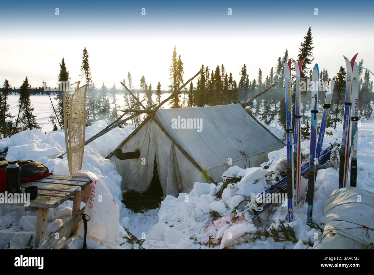 A wall tent in the snow at a remote Arctic winter c& near Old Crow Yukon Territory Canada & A wall tent in the snow at a remote Arctic winter camp near Old ...