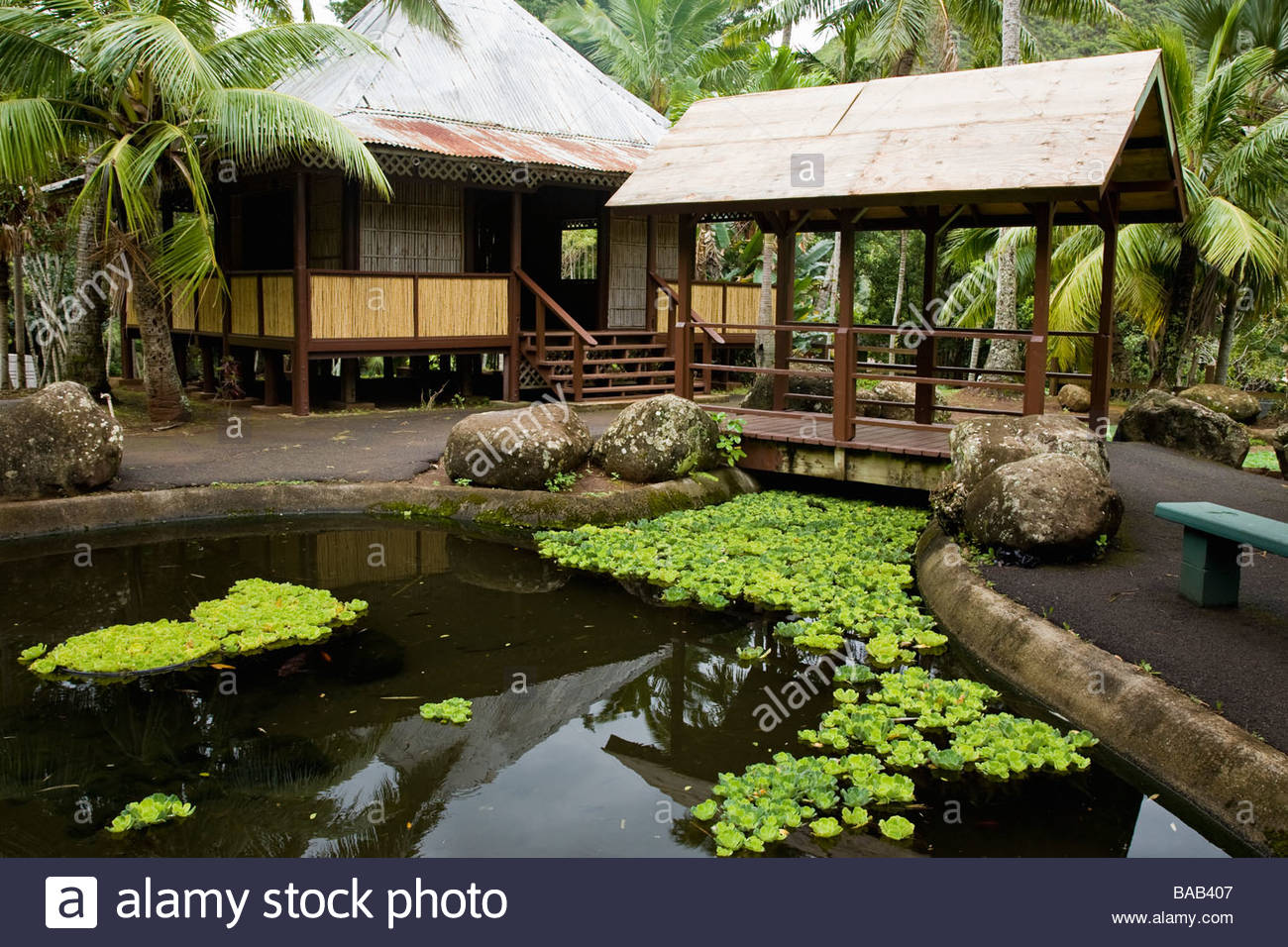 Nipa hut or bahay kubo in phillipines section in heritage gardens in kepaniwai park on island