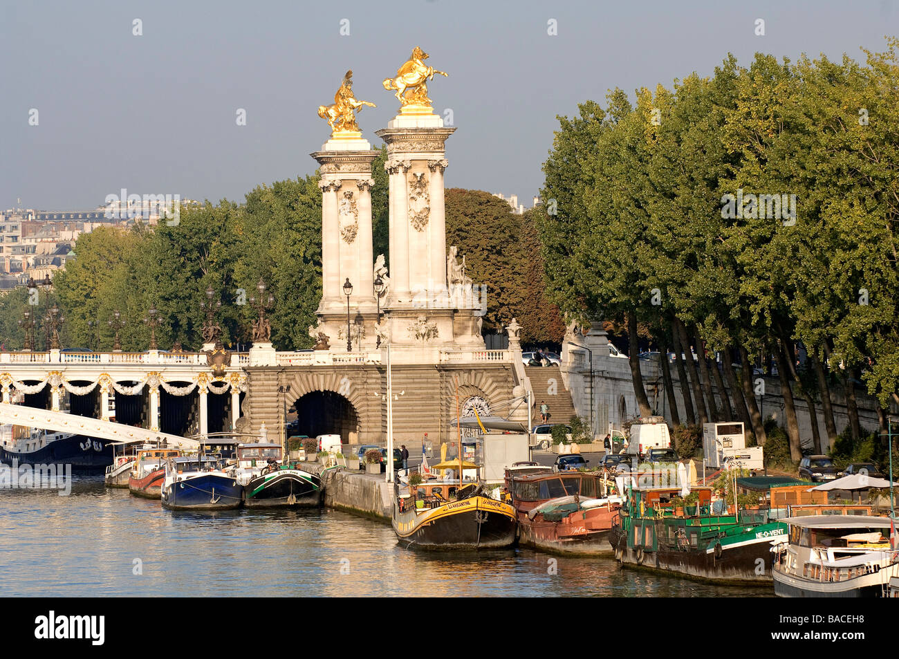 banks of the seine river port des chs elysees stock photo royalty free
