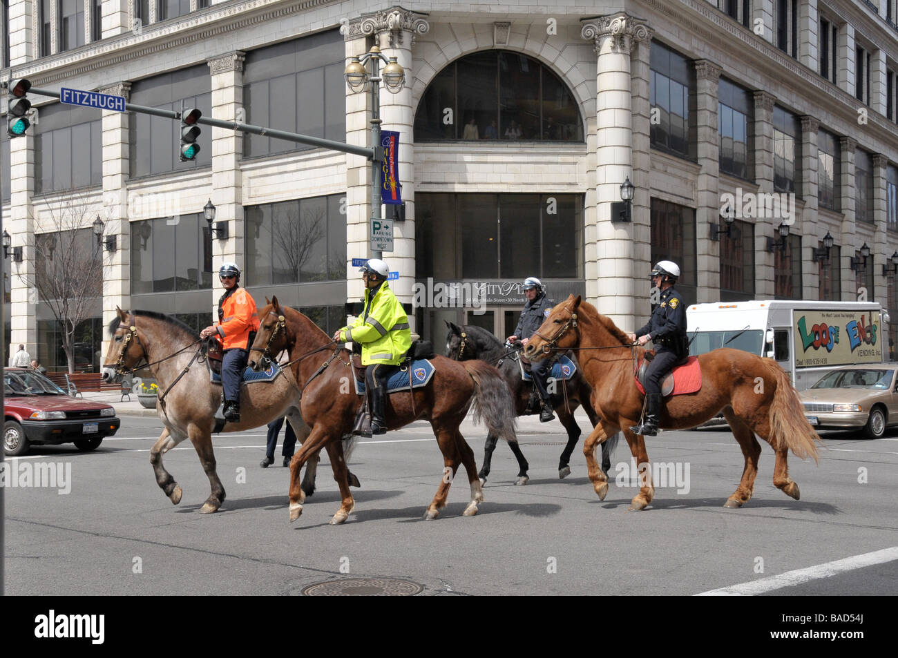 law enforcement with mounted police rochester ny usa stock photo
