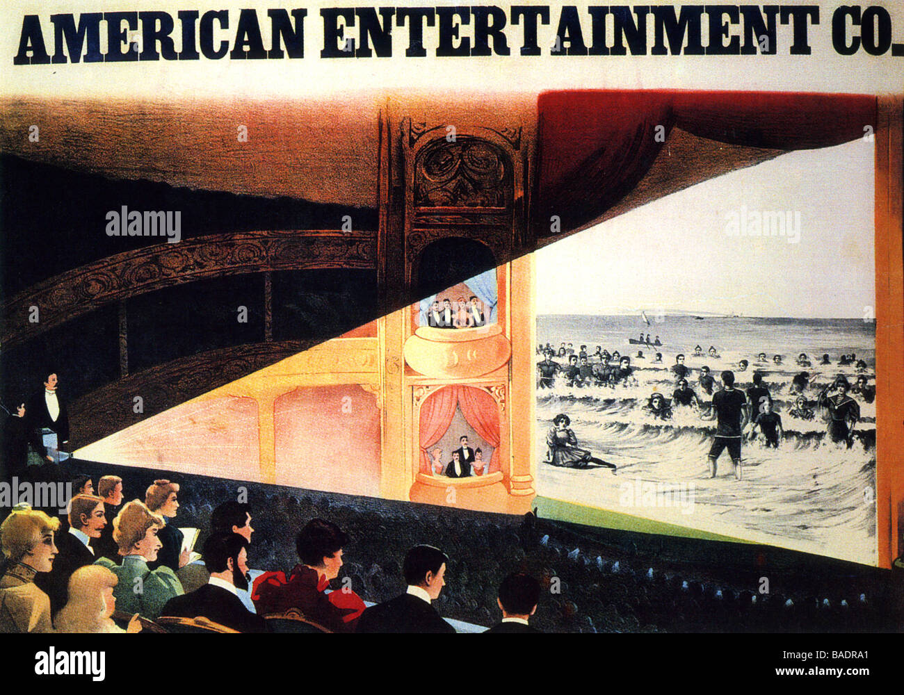 cinema 1920s poster advertising an american cinema chain