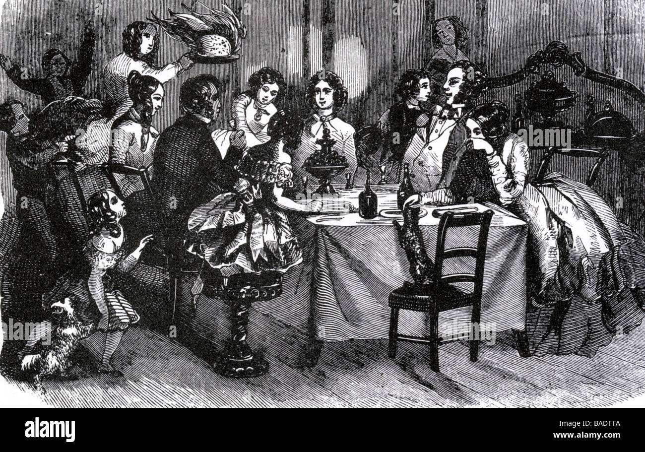 VICTORIAN CHRISTMAS DINNER in a mid-19th century engraving Stock ...
