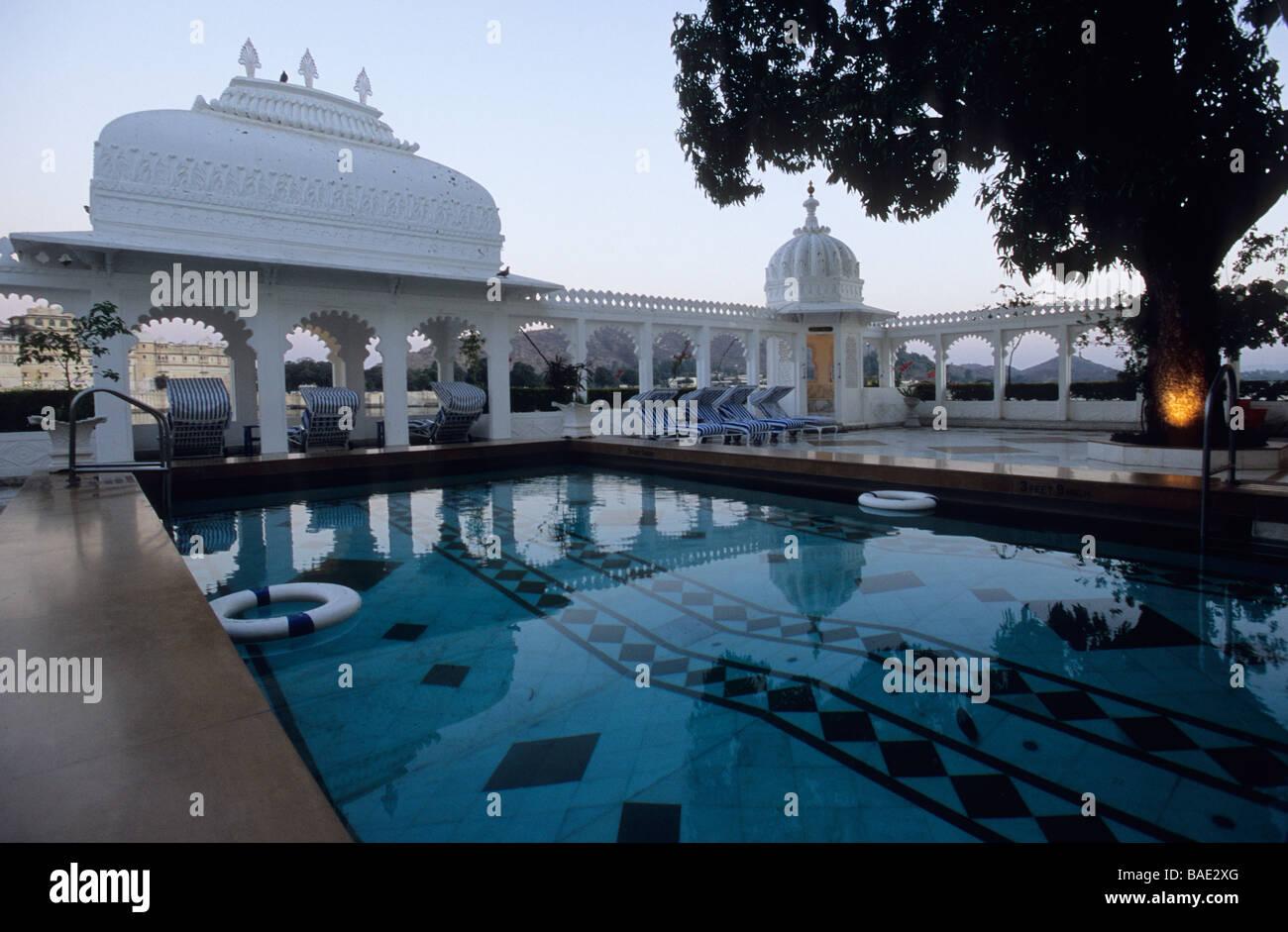 India Rajasthan State Udaipur Taj Lake Palace Hotel On Lake Stock Photo Royalty Free Image