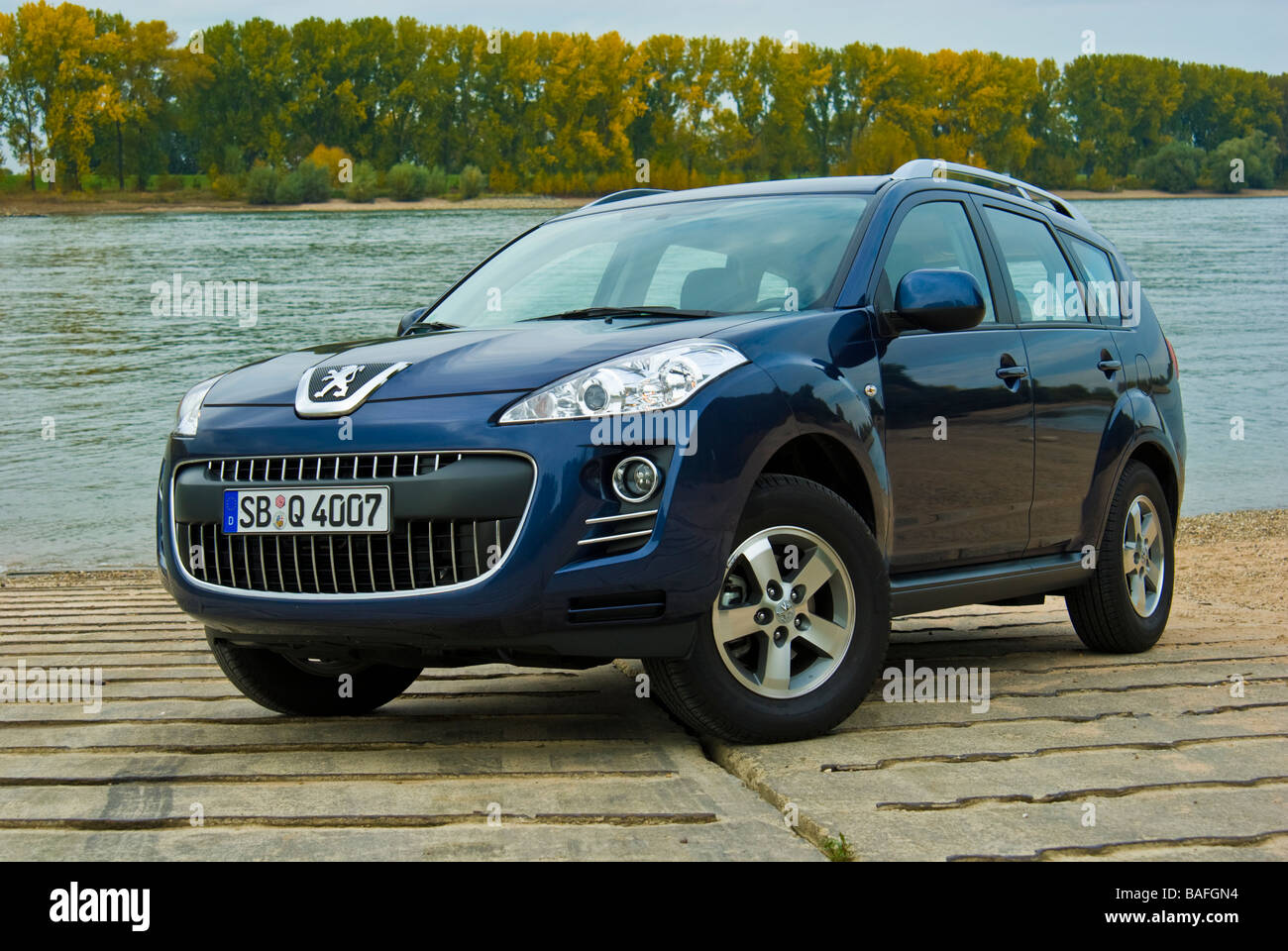 blue peugeot 4007 suv at rhine river front view stock photo royalty free image 23699344 alamy. Black Bedroom Furniture Sets. Home Design Ideas