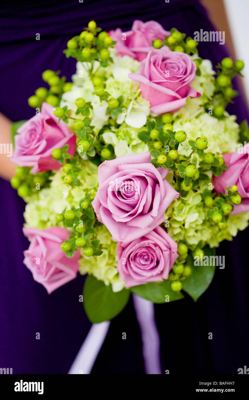 wedding bouquet, flowers, purple, green, cream, color Stock Photo ...