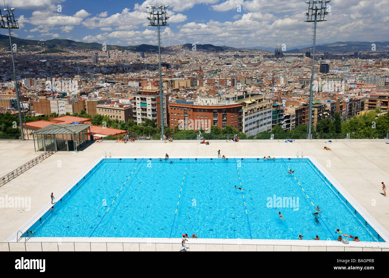 spain catalonia barcelona montjuic hill olympic swimming pool stock photo royalty free