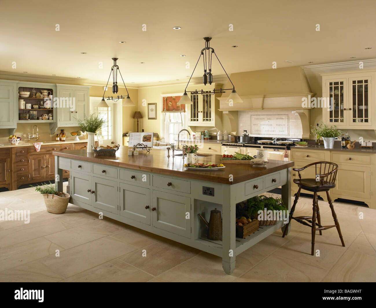 large kitchen island. A large kitchen island unit Stock Photo  Royalty Free Image