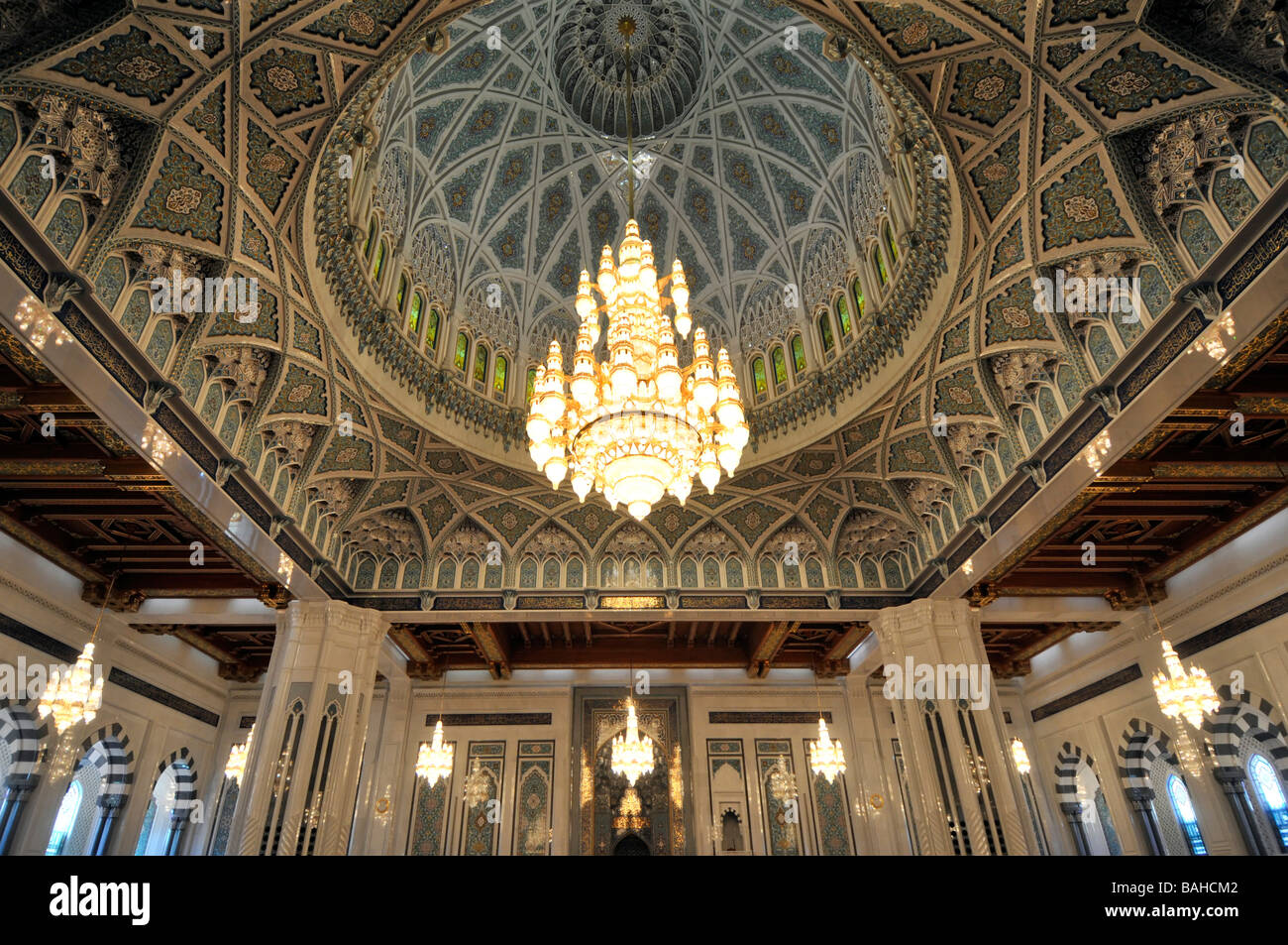 The Worlds Largest Chandelier In Sultan Qaboos Grand Mosque Mu Oman Stock Photo