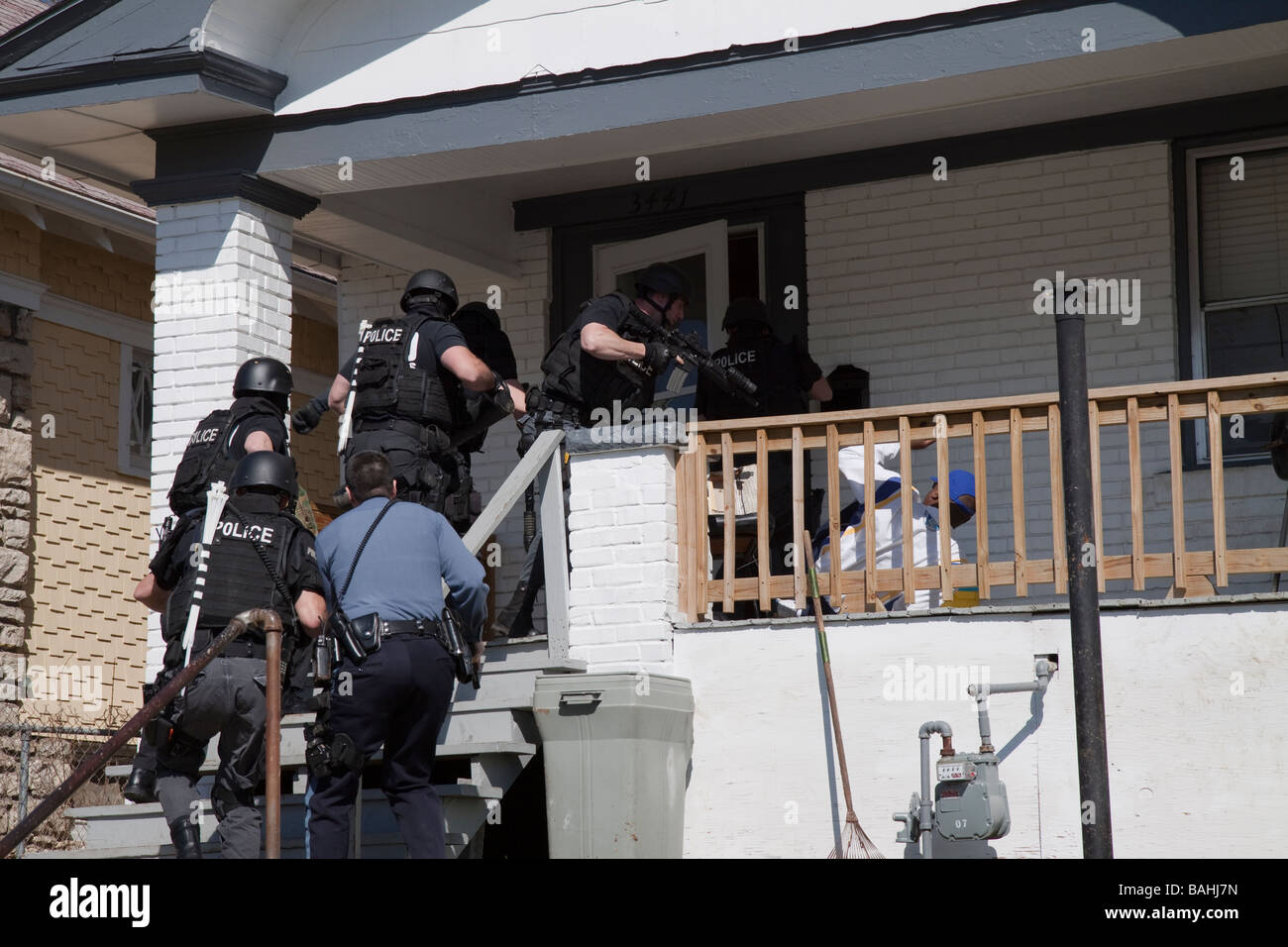 Police Tactical Team Serving A High Risk Drug-related
