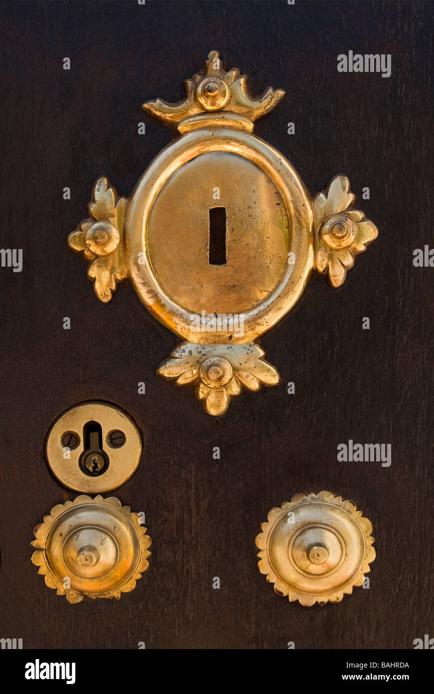 Brass key plates on wooden door & Brass key plates on wooden door Stock Photo Royalty Free Image ...