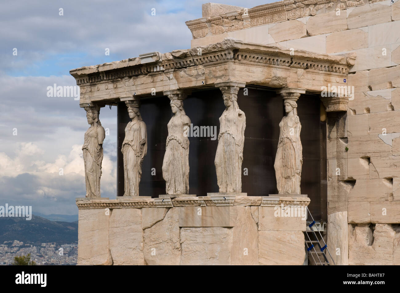 Caryatids of Erechtheion temple on Acropolis Athens Stock ...