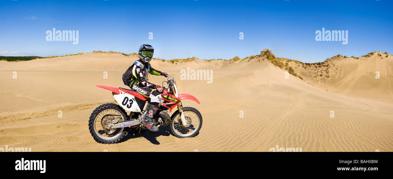 Motorcyclist In Sand Dunes On Dirtbike Stock Photo Royalty Free