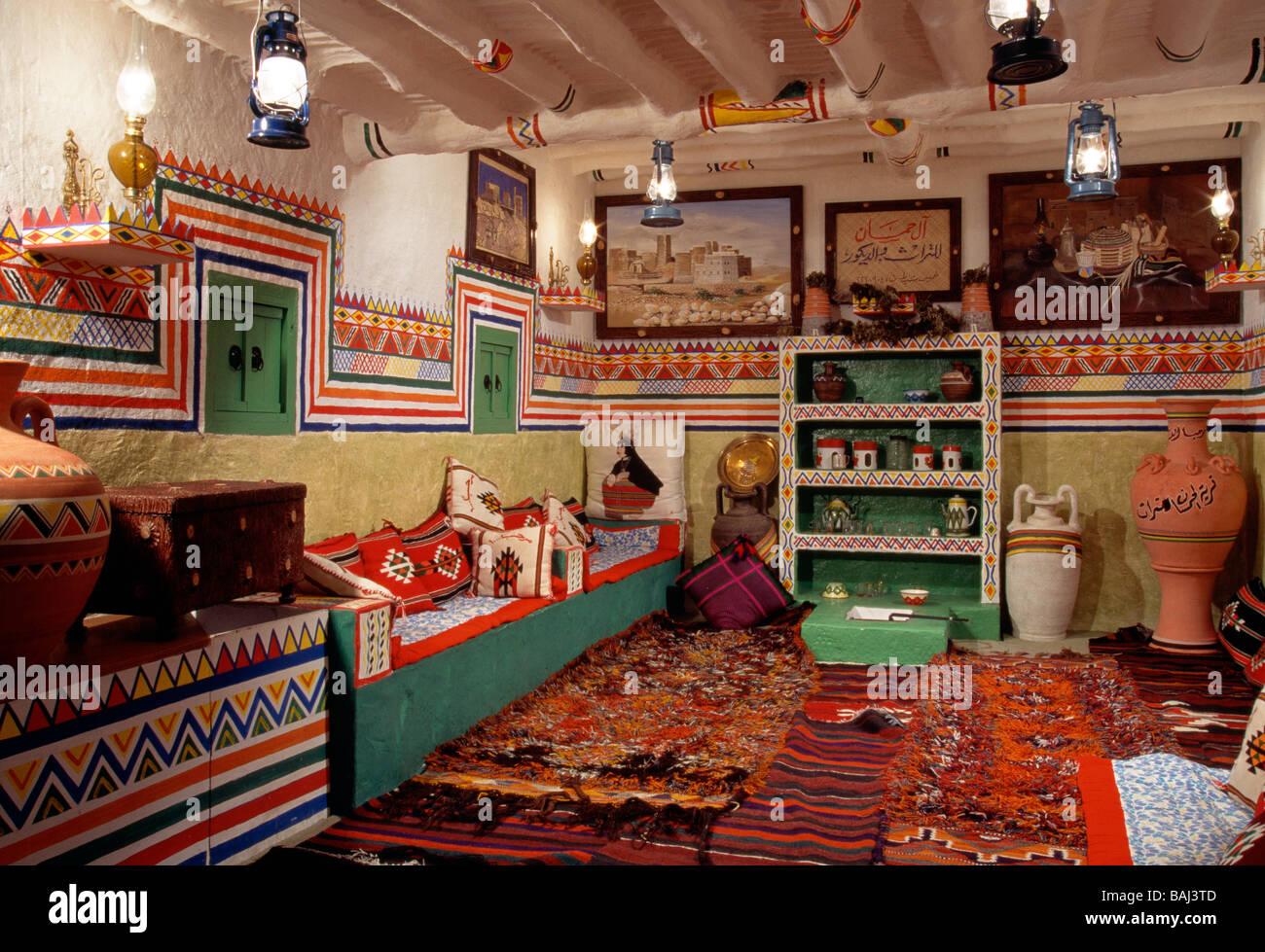 interior of a traditional saudi arabian home on display in a hotel near abha kingdom of saudi arabia - Traditional Hotel Interior